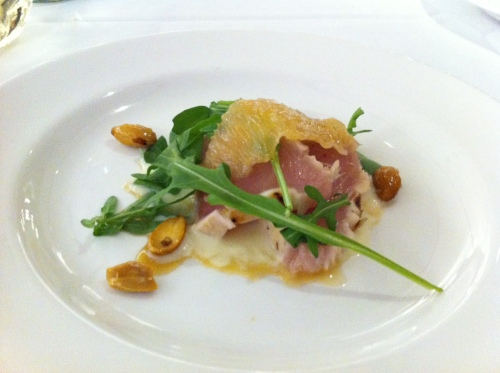 Second Course: BC Albacore tuna and Florida grapefruit segments in tofu orange sauce, with baby arugula and truffled ginger soy vinaigrette