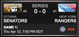 Ottawa Senators vs. New York Rangers via NHL.com
